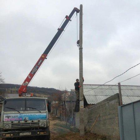 Установка электрических столбов по улице Кадырова
